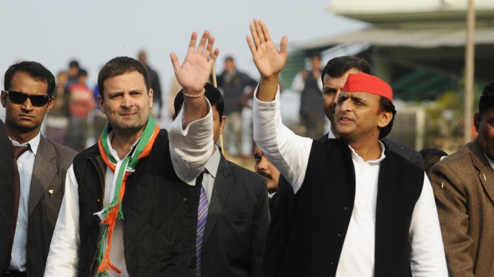 Congress vice president Rahul Gandhi and  Uttar Pradesh chief minister Akhilesh Yadav wave to the crowds during a road show in Lucknow,  January 29.  The U.P election is now down to a direct battle between the Prime Minister and the chief minister.