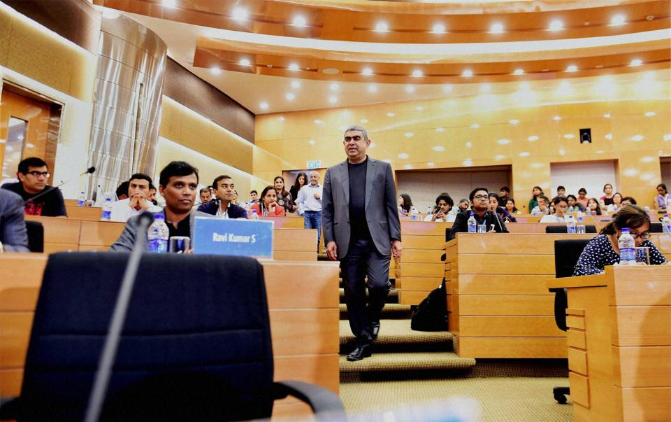 Infosys Technologies CEO Vishal Sikka arrives at the 3rd quarter financial results of the company at its headquarter in Bengaluru
