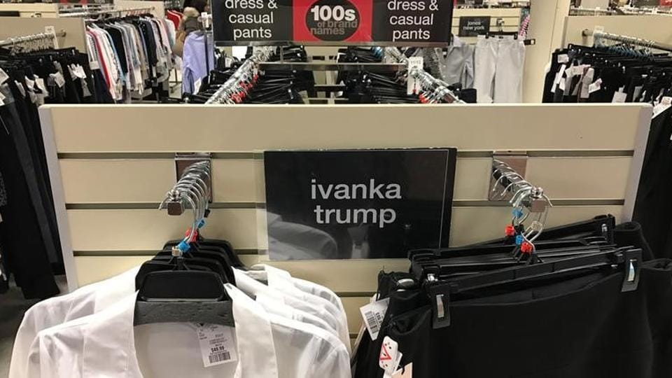 Ivanka Trump-branded blouses and trousers are seen for sale at off-price retailer Winners in Toronto.