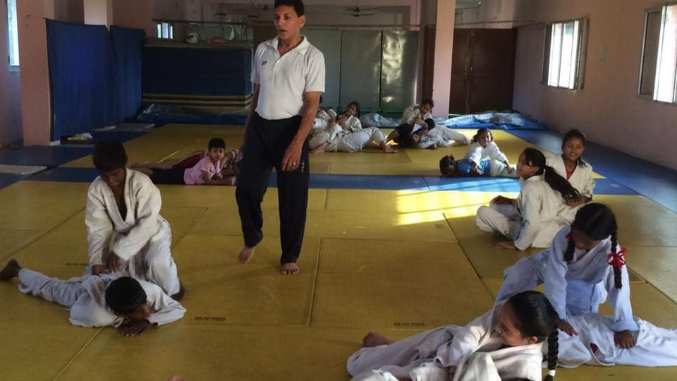 Judo players during a training session at SD Phullarwan School in Jalandhar.