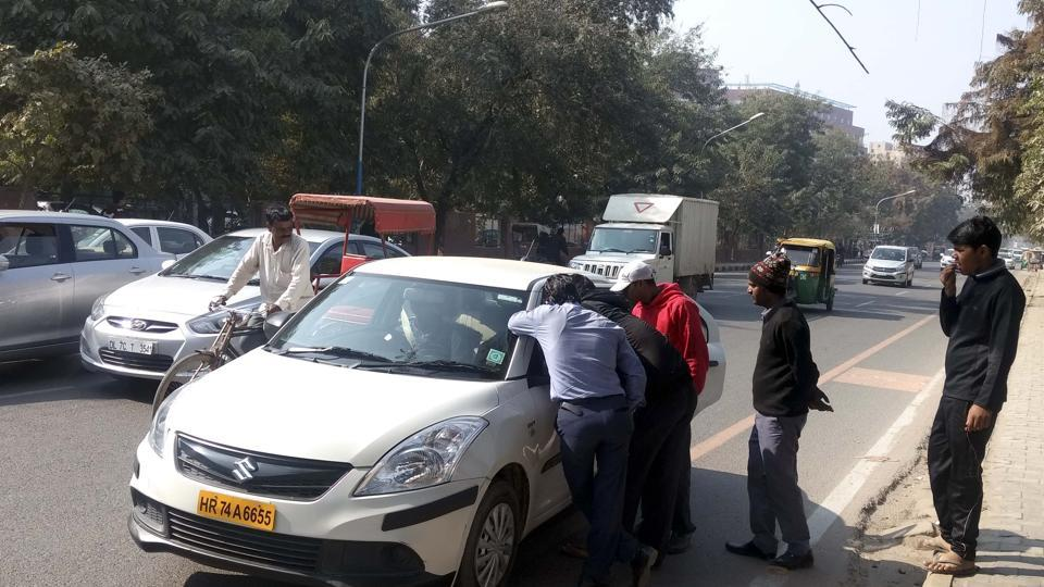 Striking cab drivers did not allow others cabs to ply. They stopped cabs at several locations and forced passengers out.