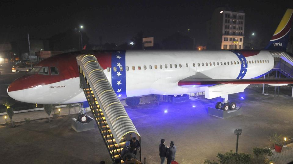 FLYING HIGH Airbus A320, which has been converted into a restaurant at the Hawai Adda complex on Ferozepur Road in Ludhiana.