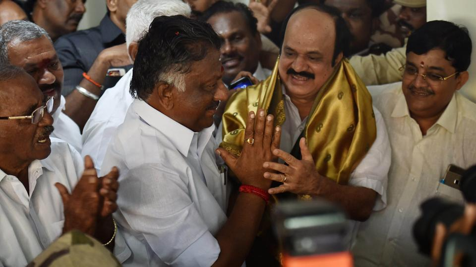 Tamil Nadu Chief Minister O Panneerselvam welcoming AIADMK senior leaders at his residence in Chennai on Thursday, Feb 9, 2017.