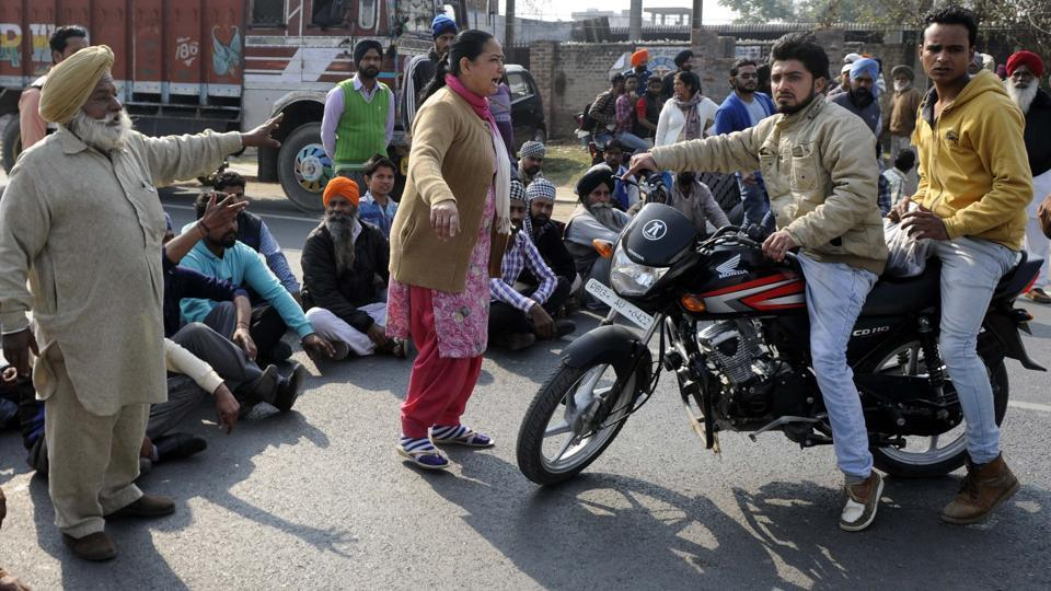 Family of the victim and other villagers holding protest outside the police station in Malerkotla on Thursday.