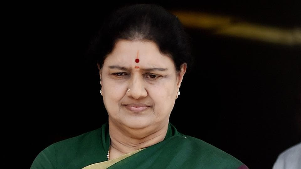 AIADMK general secretary VK Sasikala after attending a meeting in which she was elected as the legislative party leader in Chennai.