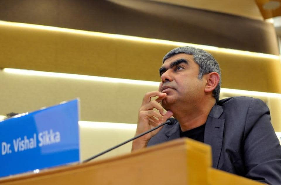 Infosys Chief Executive Vishal Sikka listens to reporters' questions during the announcement of the company's quarterly results at its headquarters in Bengaluru
