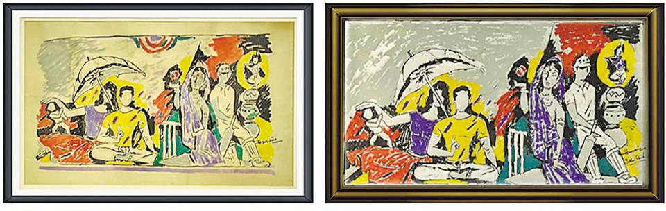Can you tell the MF Hussain original and the forgery apart? Forgers go to great length to pass their work off as legitimate.  The one on the left is the fake, incidentally; it was created using a serigraph by the master artist.