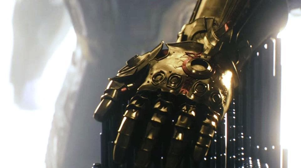 Thanos finally puts on his Infinity Gauntlet.