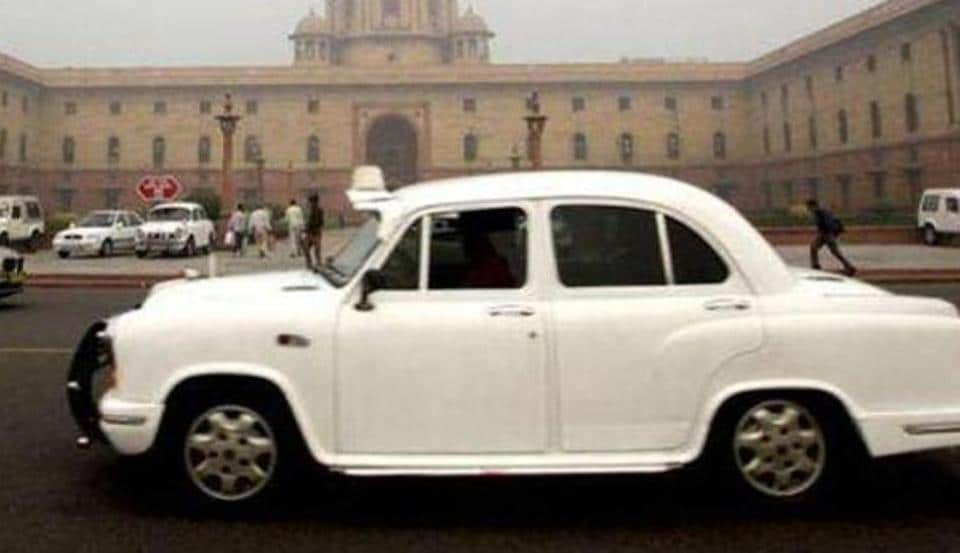The iconic ambassador drives past the country's seat of power South Block.