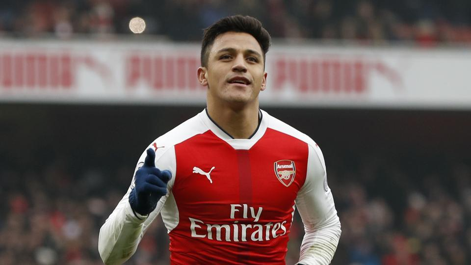 Arsenal's Alexis Sanchez celebrates scoring his second goal against Hull City at the Emirates Stadium in London on Saturday.