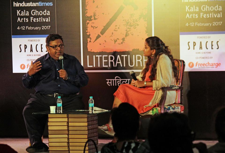Ashwin Sanghi l speaks during a literature session at DSL Garden on Friday.