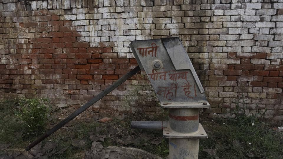 Hand pumps  with contaminated water in Edrispur village in Baghpat district of Uttar Pradesh.