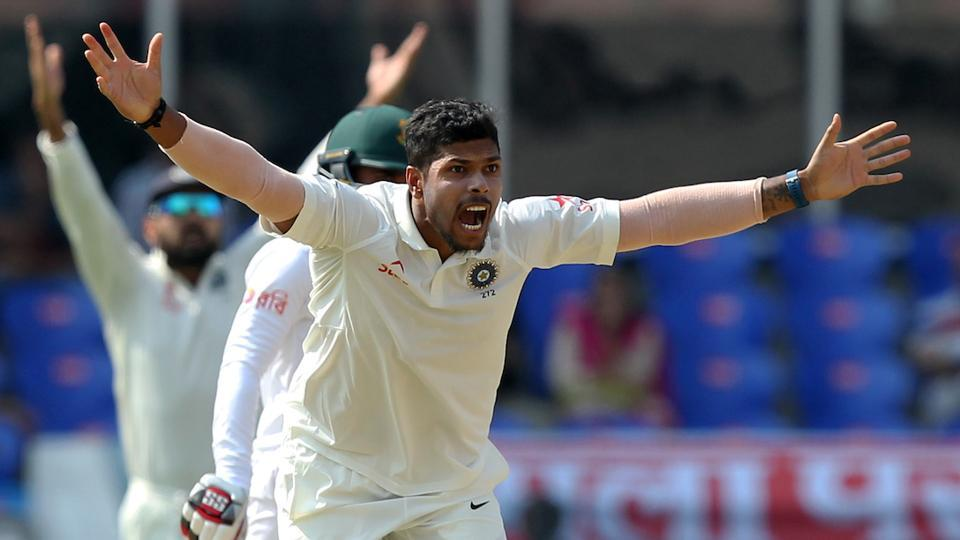 Umesh Yadav of India successfully appeals for wicket of Mominul Hoque of Bangladesh. (BCCI)