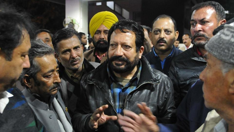The father of victim, Akansh Sen, along  with other family members at the PGI on Friday.