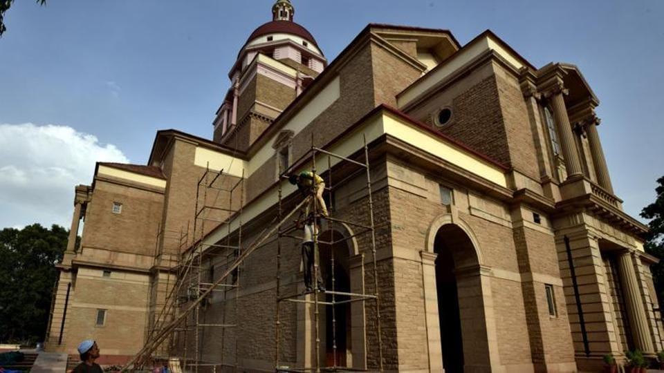 Church of Redemption in New Delhi. Police said that the footage accessed by them shows two men scaling the Rohini church boundary wall with a rope, breaking a window of the main building and entering the complex around 4am.