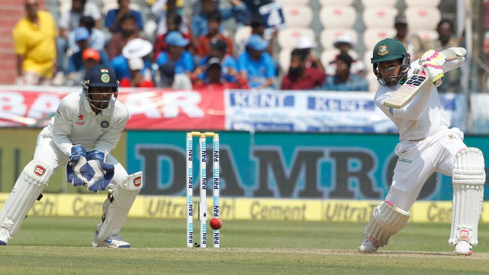 Mushfiqur Rahim bats during day three of the one-offtest match between India and Bangladesh. (BCCI)