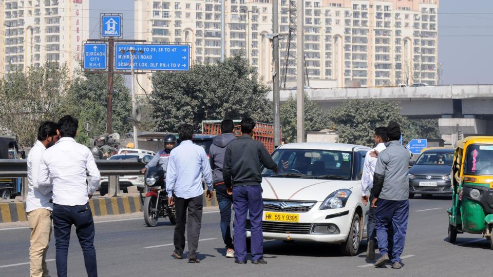 The app-based cab operators forced many drivers off the road on Sohna Road in Gurgaon on Saturday.