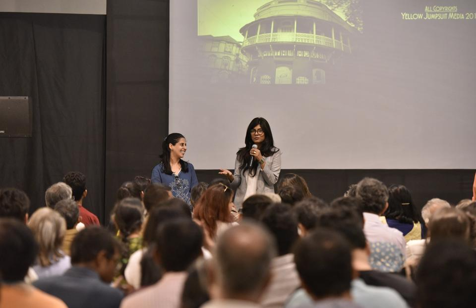 Producer Aliya Curmally and director Megha Ramaswamy interact with the audience after the screening of their documentary film