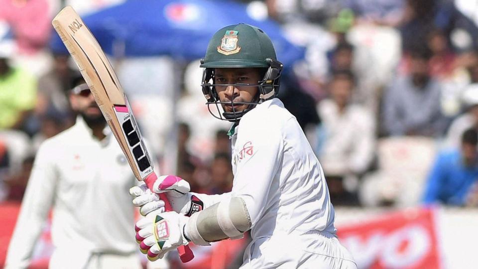 Bangladesh cricket team skipper Mushfiqur Rahim during his innings vs India cricket team in Hyderabad on Saturday.