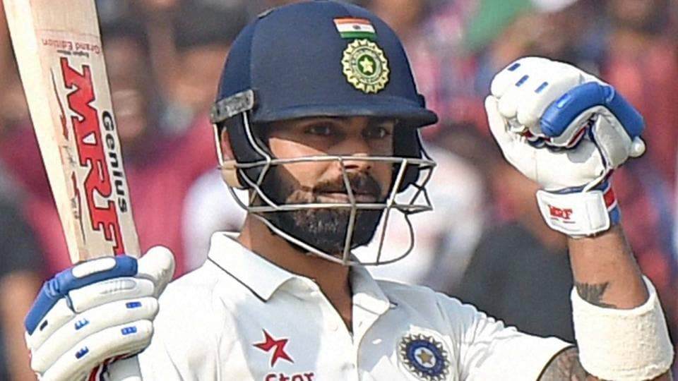 Virat Kohli celebrates after scoring his double century in the one-ff Test match against Bangladesh.