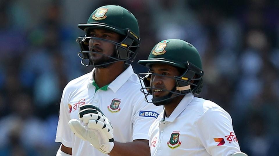 Shakib Al Hasan and Mushfiqur Rahim  during the one-off Test match between India and Bangladesh. (BCCI)
