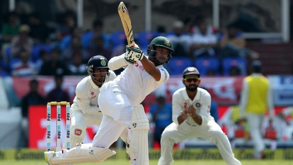 Shakib Al Hasan of Bangladesh in action against India in the one-off Test in Hyderabad. (BCCI)