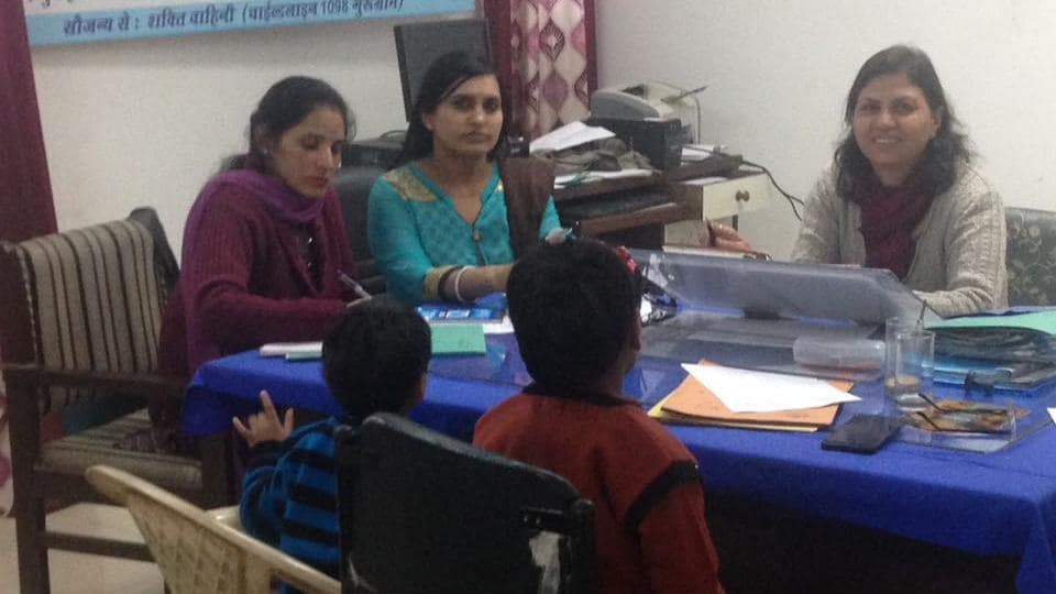 BEST QUALITY AVAILABLE - Two minor girls who were adopted by a Mangalore-based childless couple returned to Gurgaon. The couple surrendered them before district child welfare authorities on Thursday. The girls were counselled by officials of the Child welfare committee. (HT Photo)**Pic received on February 11, 2017** (Please check with rashpal Singh for details)