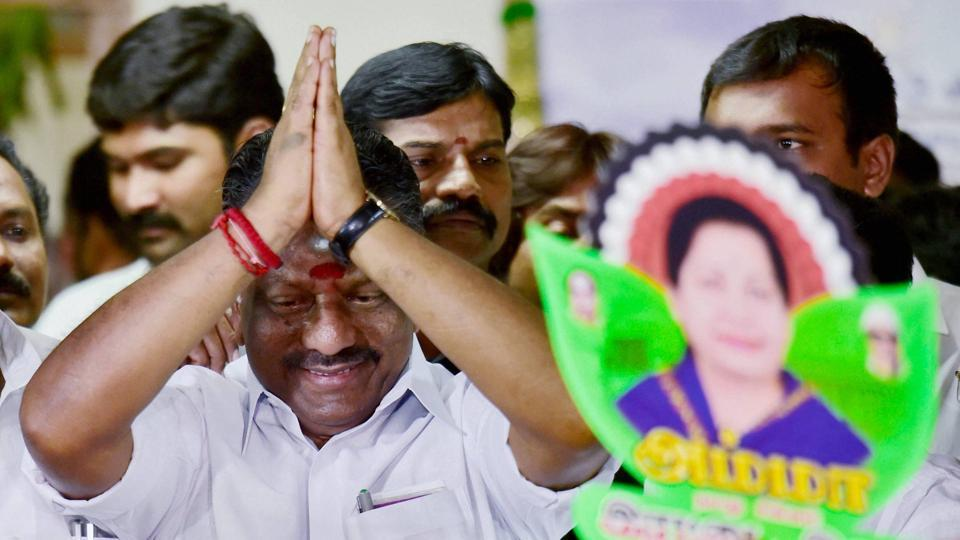 Tamil Nadu chief minister O Panneerselvam being greeted by various party supporters at his official residence in Chennai.