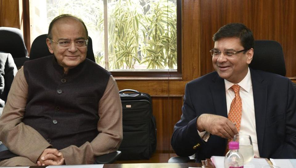 Finance Minister Arun Jaitley (left) with Reserve Bank Governor Urjit Patel at the RBI Board Meeting in New Delhi on Saturday.