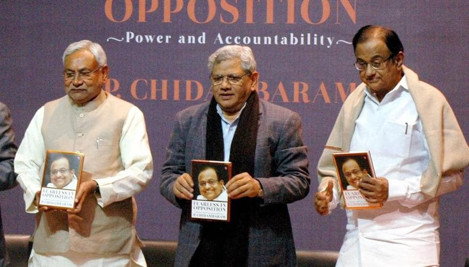 Former finance minister P Chidambaram (far right) at the release of his book 'Fearless in Opposition' with CPI(M) leader Sitaram Yechuri (centre) and Bihar Chief Minister Nitish Kumar (left),  in New Delhi on Friday.