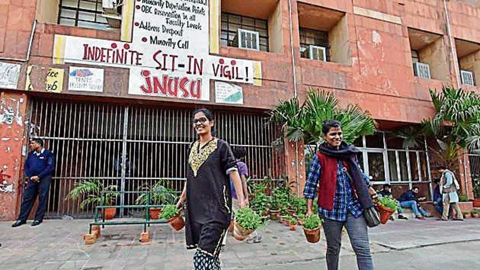 """JNU administration issued another denunciation of the demonstrating students and called their agitation a """"criminal act""""."""