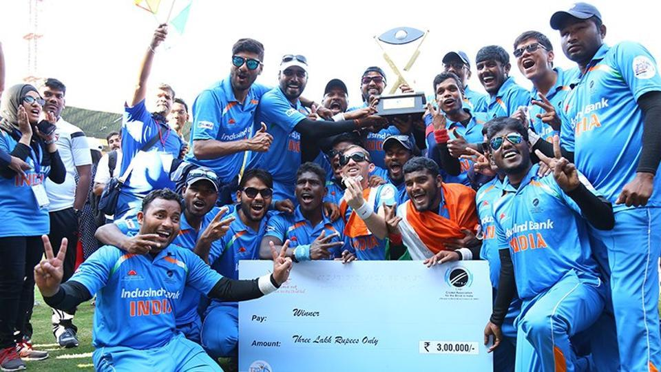 Indian cricket team after defeating Pakistan in the T20 Blind World Cup.