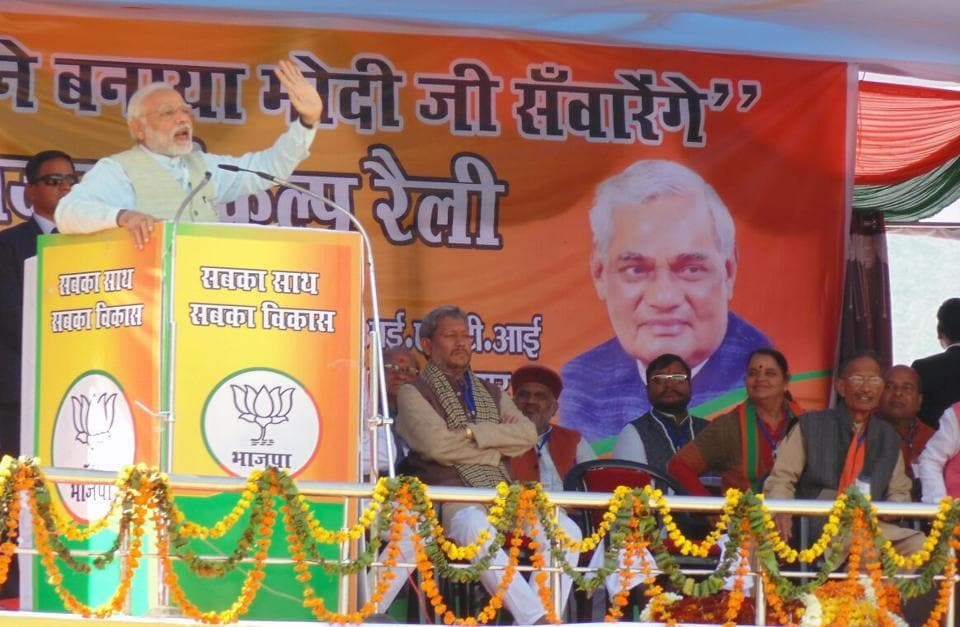 Prime Minister Narendra Modi addressing an election rally at Srinagar Garwal in Uttarakhand on Sunday.