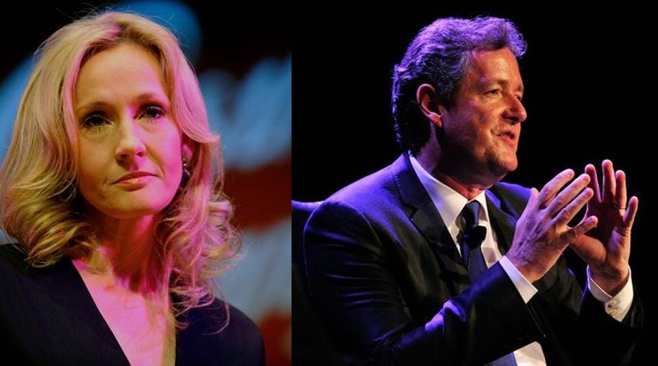 """Morgan accused Rowling of being """"superior, dismissive and arrogant"""", and the writer attacked what she described as the """"fact-free, amoral, bigotry-apologism of (a) celebrity toady""""."""