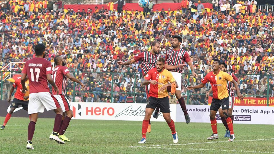 The East Bengal FC vs Mohun Bagan AC I-League derby in progress in Siliguri on Sunday.