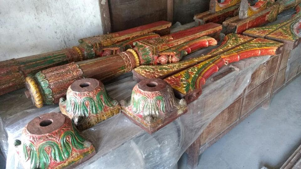 Saturday's raid resulted into recovery of antique wooden sculptures and carvings: 12 ornately carved wooden columns with floral pilasters, 12 wooden archways with carvings of birds and flowers and 12 wooden pedestals.