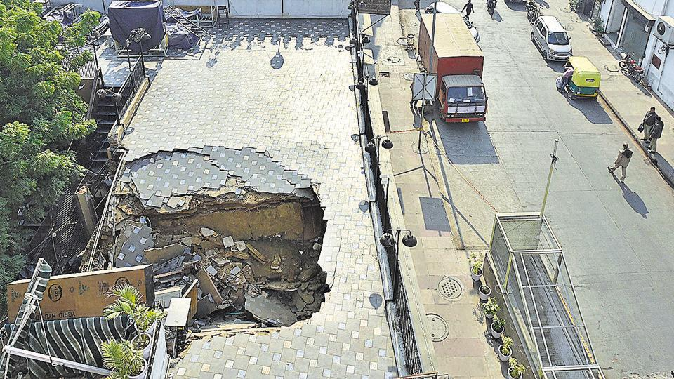 Aportion of the roof of Cafe Unplugged Connaught Place, L-block collapsed on Sunday
