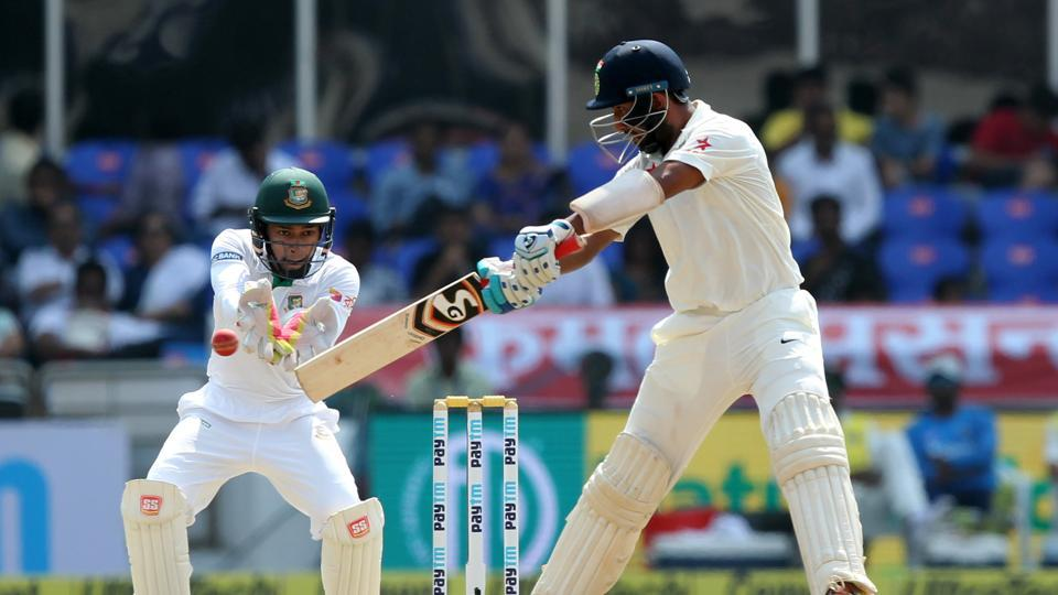 Cheteshwar Pujara's 50 allowed India to declare at 159/4, giving Bangladesh a target of 459 runs. (BCCI)