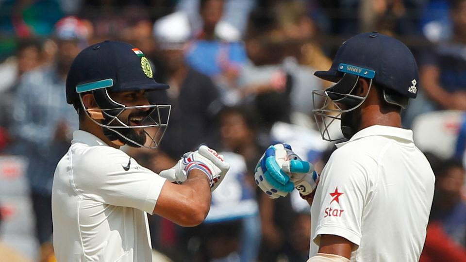 Virat Kohli  and Cheteshwar Pujara strung a rapid partnership to boost India in the post-lunch session. (BCCI)