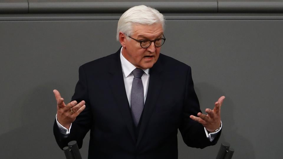New elected German President Frank-Walter Steinmeier delivers a speech after the presidential election at the Bundesversammlung federal assembly Bundestag (lower house of parliament)on February 12, 2017 in Berlin.