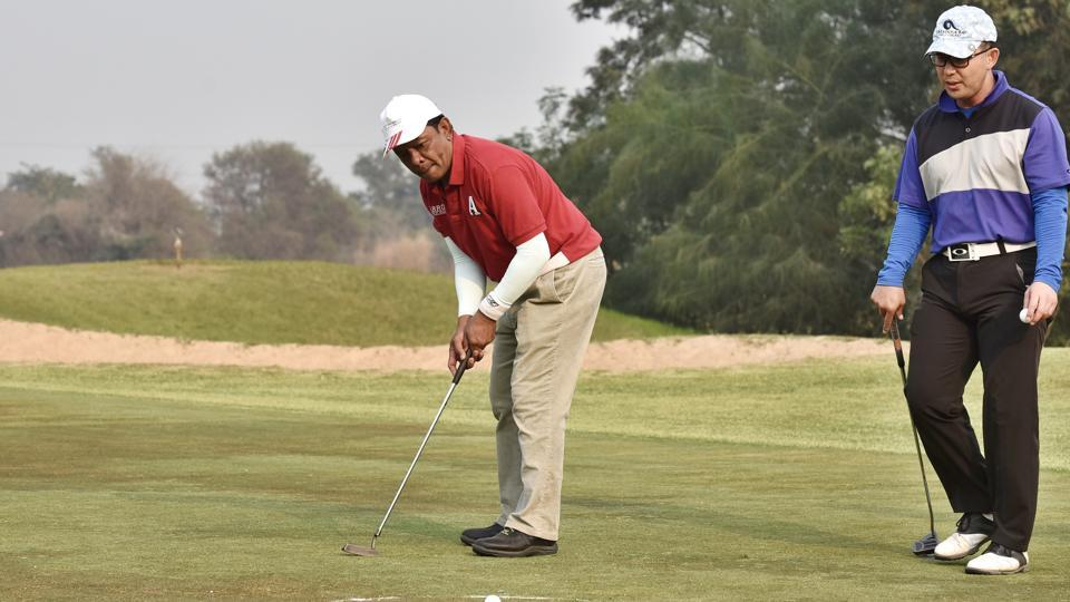 Foreign envoys played golf during the 'Putting Smiles' tournament at Golden Green Golf Club on Sunday.