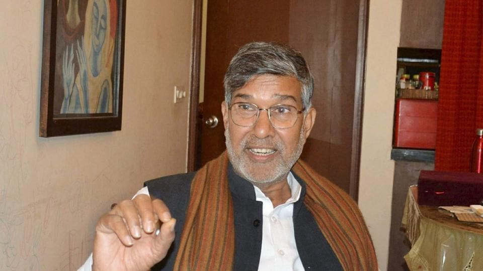 Nobel laureate Kailash Satyarthi talking to the media at his residence in New Delhi on Saturday. Several items including his Nobel citation were stolen from the house recently.