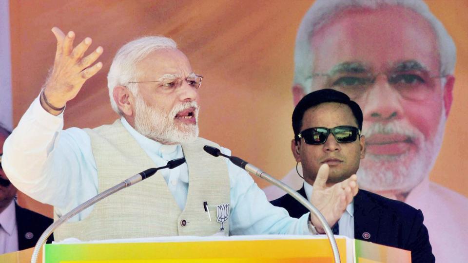 Prime Minister Narendra Modi addressing the BJP supporters during Vijay Sankalp rally at Srinagar in Uttarakhand on Sunday.