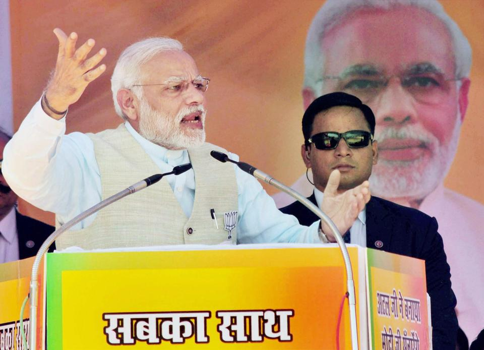 Prime Minister Narendra Modi addresses BJP supporters during the Vijay Sankalp rally at Srinagar in Uttarakhand on Sunday.