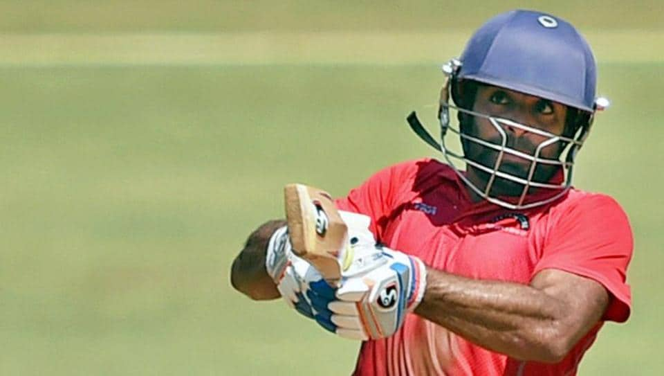 Central Zone batsman Harpreet Singh plays a shot against West Zone during the Syed Mustaq Ali Trophy.