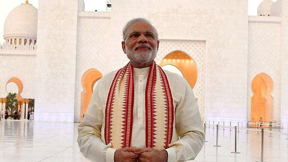 Prime Minister Narendra Modi at the Sheikh Zayed Grand Mosque in Abu Dhabi during his two-day visit to the UAE. Modi has asked all his ministers to furnish details of their tours in the last three months.