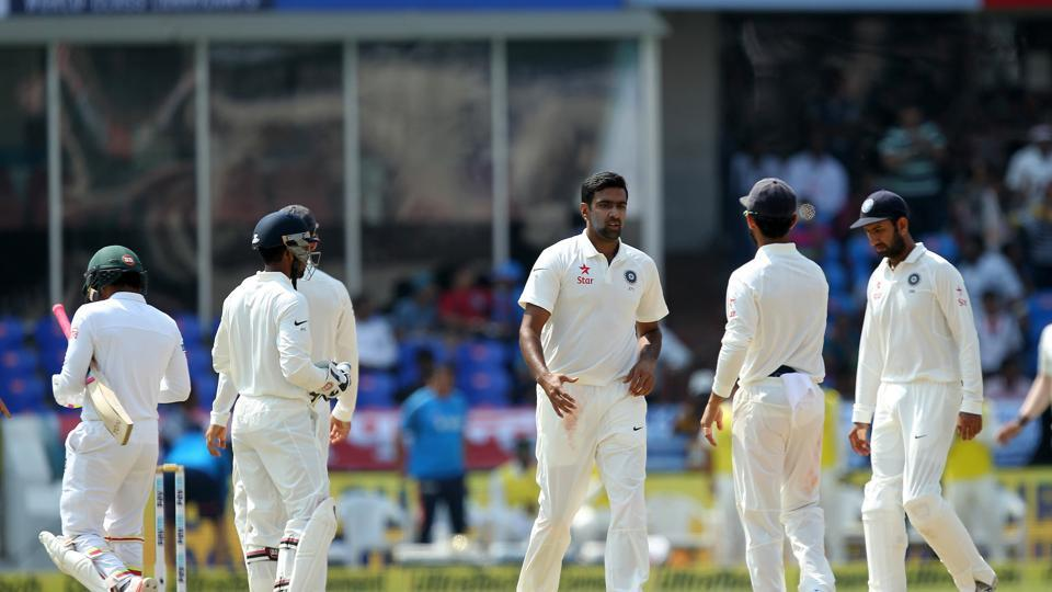 Ravichandran Ashwin dismissed Mushfiqur Rahim for 127 as he picked up his 250th wicket in his 45th Test. (BCCI)
