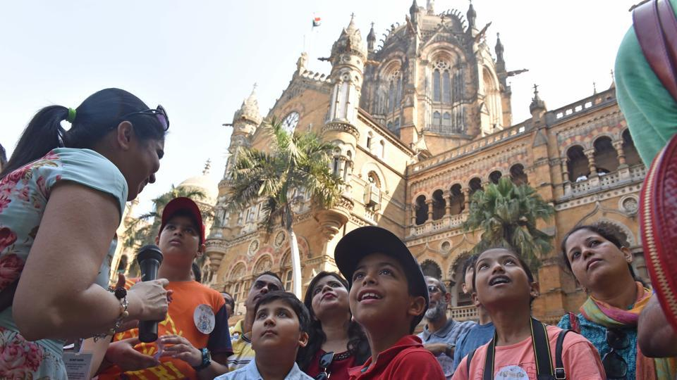 Kids participate in the railway heritage walk at the HT Kala Ghoda Arts Festival on Saturday.