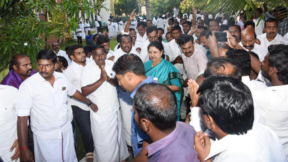 VK Sasikala is locked in an intense struggle for power over the ruling AIADMK party in Tamil Nadu with acting chief minister O Panneerselvam.