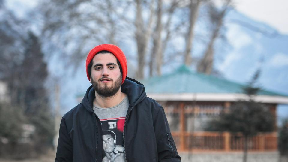 Kashmiri rock singer Ali Saffudin poses for a photograph in Srinagar. Ali's songs are very popular on YouTube and social media.